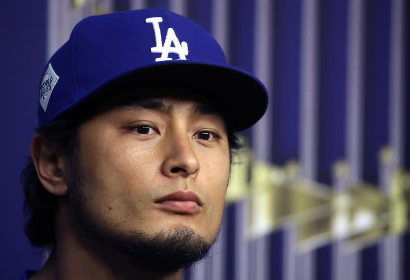 Dodgers pitcher Yu Darvish gets the start in Game 3 of the World Series at Minute Maid Park in Houston. (AP)
