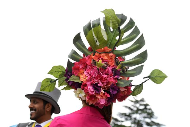 Horse Racing - Royal Ascot - Ascot Racecourse, Ascot, Britain - June 22, 2017 General view of a racegoers hat during Ladies Day at Ascot REUTERS/Toby Melville