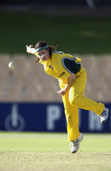 2 Feb 2002: Karen Rolton  of Australia bowls in the women's international series match between Australia and New Zealand played at Adelaide Oval in Adelaide, Australia.  Digital Image. Mandatory Credit: Tony Lewis/Getty Images