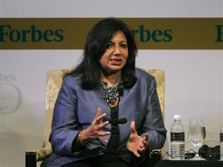 India's Biocon Ltd Chairman and Managing Director Kiran Mazumdar-Shaw speaks during the Forbes Global CEO Conference in Kuala Lumpur