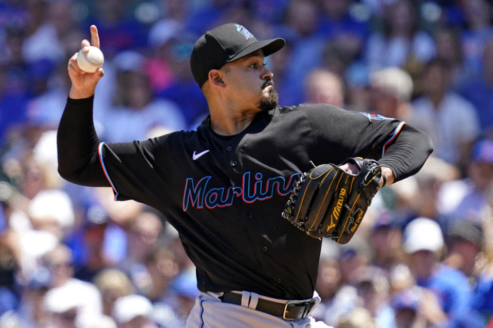 Miami Marlins starting pitcher Pablo Lopez throws against the Chicago Cubs during the first inning of a baseball game in Chicago, Saturday, June 19, 2021. (AP Photo/Nam Y. Huh)