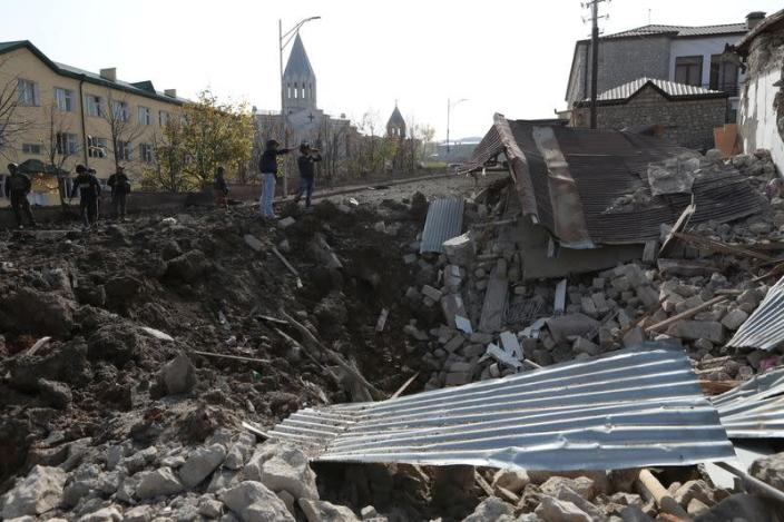 A view shows the ruins of a building following recent shelling in Shushi