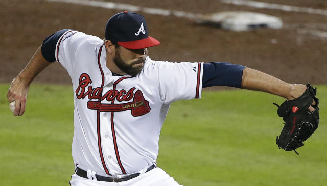 Atlanta Braves relief pitcher Luis Ayala works against the Los Angeles Dodgers in the fifth inning of Game 1 of the National League Divisional Series, Thursday, Oct. 3, 2013, in Atlanta. (AP Photo/David Goldman)