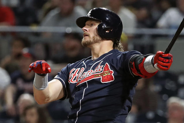 Atlanta Braves' Josh Donaldson watches his three-run home run off Pittsburgh Pirates relief pitcher Geoff Hartlieb during the eighth inning of a baseball game in Pittsburgh, Tuesday, June 4, 2019. (AP Photo/Gene J. Puskar)