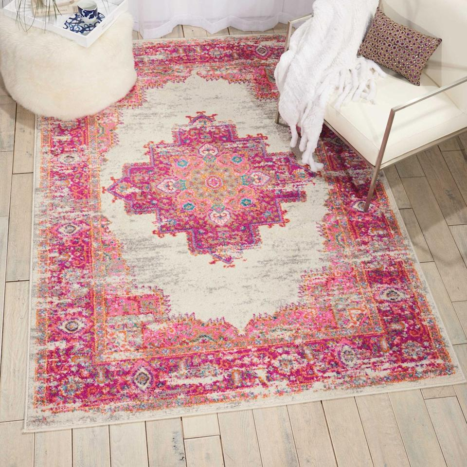 """<p>If you're all about pink, we have a feeling you'll love this <a href=""""https://www.popsugar.com/buy/Nourison-Passion-Bordered-Ivory-Area-Rug-411192?p_name=Nourison%20Passion%20Bordered%20Ivory%20Area%20Rug&retailer=walmart.com&pid=411192&price=13&evar1=casa%3Aus&evar9=46598422&evar98=https%3A%2F%2Fwww.popsugar.com%2Fphoto-gallery%2F46598422%2Fimage%2F46598424%2FNourison-Passion-Bordered-Ivory-Area-Rug&list1=shopping%2Chome%20decor%2Chome%20shopping&prop13=api&pdata=1"""" rel=""""nofollow"""" data-shoppable-link=""""1"""" target=""""_blank"""" class=""""ga-track"""" data-ga-category=""""Related"""" data-ga-label=""""http://www.walmart.com/ip/Nourison-Passion-Bordered-Ivory-Area-Rug-or-Runner/56162374"""" data-ga-action=""""In-Line Links"""">Nourison Passion Bordered Ivory Area Rug </a> ($13-$261).</p>"""