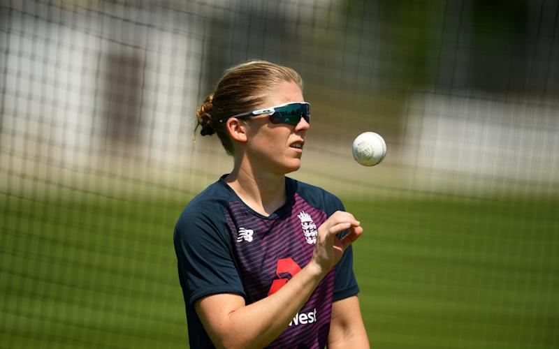 England Women's Cricket Captain Heather Knight looks on as she takes part in an individual training session at the County Ground on June 24, 2020 in Bristol, England. - GETTY IMAGES