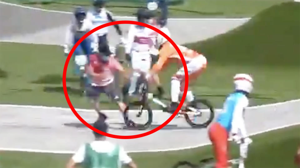 Dutch BMX rider Niek Kimmann was fortunate to walk away unscathed after a terrifying collision with a careless official during practice. Picture: Twitter/@niekkimmann
