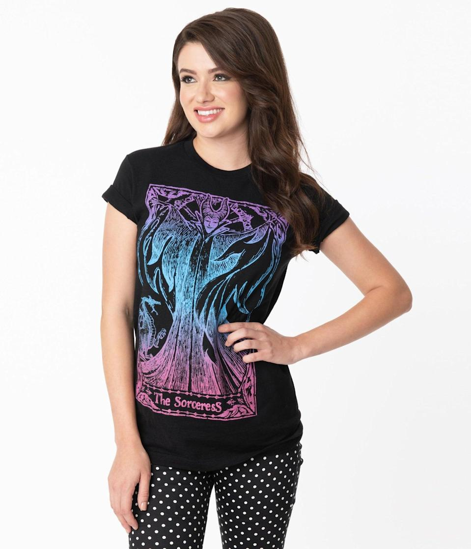<p>The <span>The Sorceress Tarot Card Disney Unisex Tee</span> ($30) features a Maleficent graphic on the front. </p>