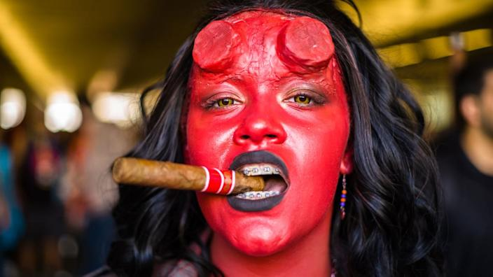 """<div class=""""inline-image__caption""""><p>A cosplayer attends New York Comic Con 2019 Day 3 at Jacob K. Javits Convention Center on October 05, 2019 in New York City. </p></div> <div class=""""inline-image__credit"""">Steven Ferdman/Getty</div>"""