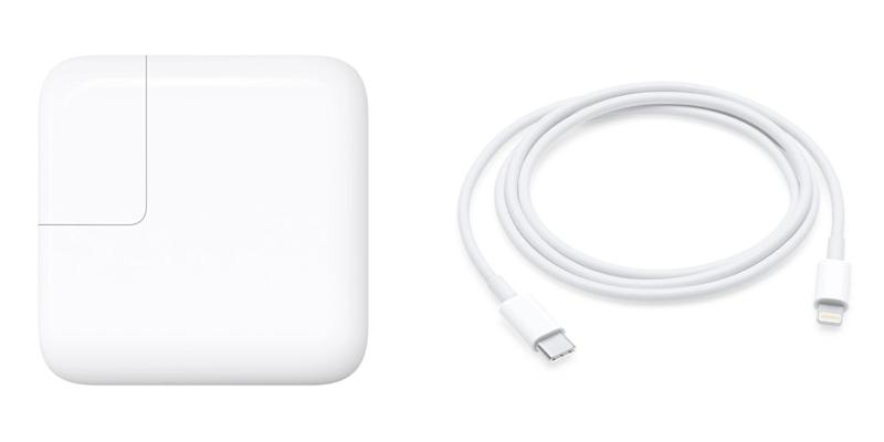 apple 29w power adapter and usbc lightning cable