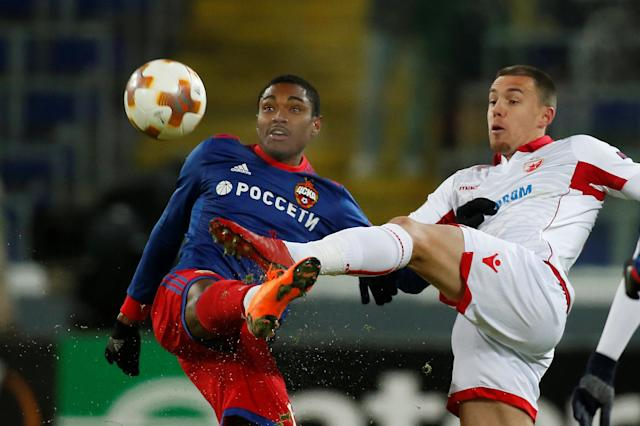 Soccer Football - Europa League Round of 32 Second Leg - CSKA Moscow vs Red Star Belgrade - VEB Arena, Moscow, Russia - February 21, 2018 CSKA Moscow's Vitinho in action with Red Star Belgrade's Milan Rodic REUTERS/Maxim Shemetov