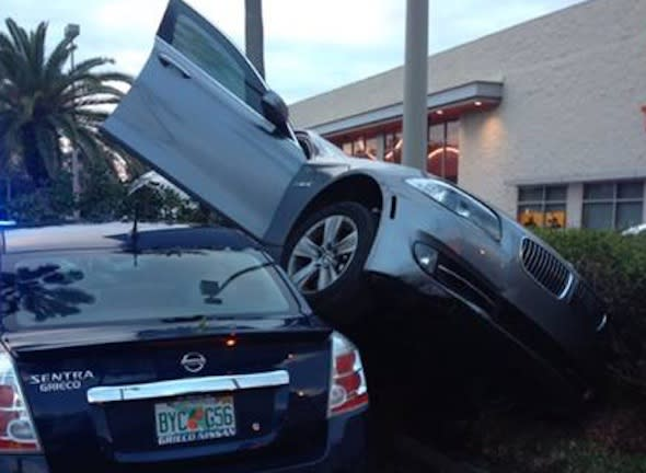 Martin County Sheriff's Traffic Deputies are investigating the cause of this parking lot crash. It happened in the Target parking lot in Stuart just after 5pm today. The driver of the car told deputies that the parking assist on the car malfunctioned while they were parking. Fortunately, there were no injuries.