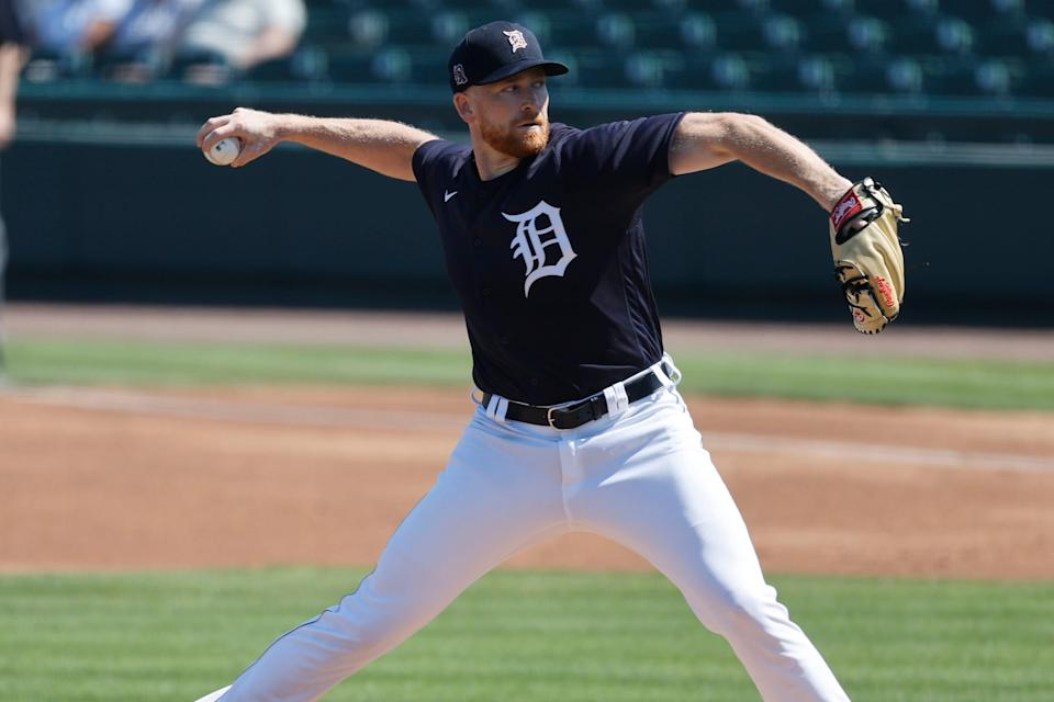 Detroit Tigers starting pitcher Spencer Turnbull throws a during the first inning against the Toronto Blue Jays, March 4, 2021 in Lakeland, Fla.