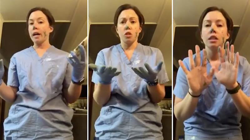 Nurse, Molly Lixey, demonstrates how fast germs can spread even when you are wearing gloves
