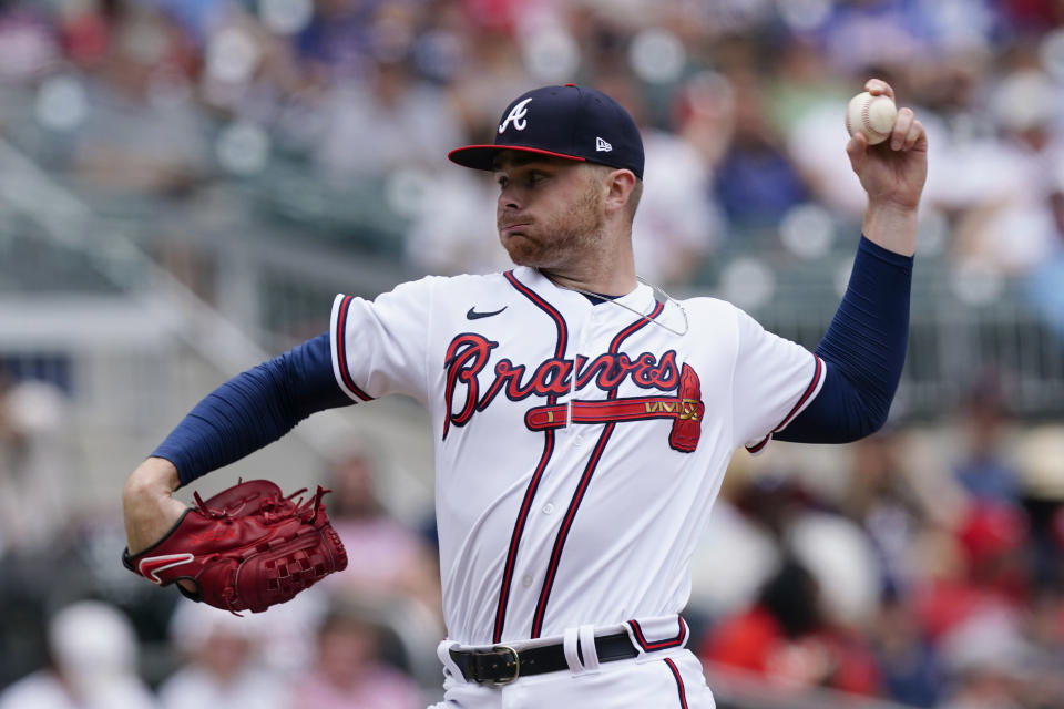 Atlanta Braves relief pitcher Sean Newcomb (15) works in the fifth inning of a baseball game against the Washington Nationals, Thursday, June 3, 2021, in Atlanta. (AP Photo/John Bazemore)