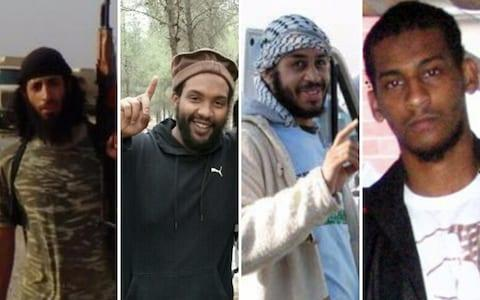 <span>Mohammed Emwazi and Aine Lesley Davis (left) both died in Syria. El Shafee Elsheikh and Alexanda Kotey have been in custody since February 2018</span>