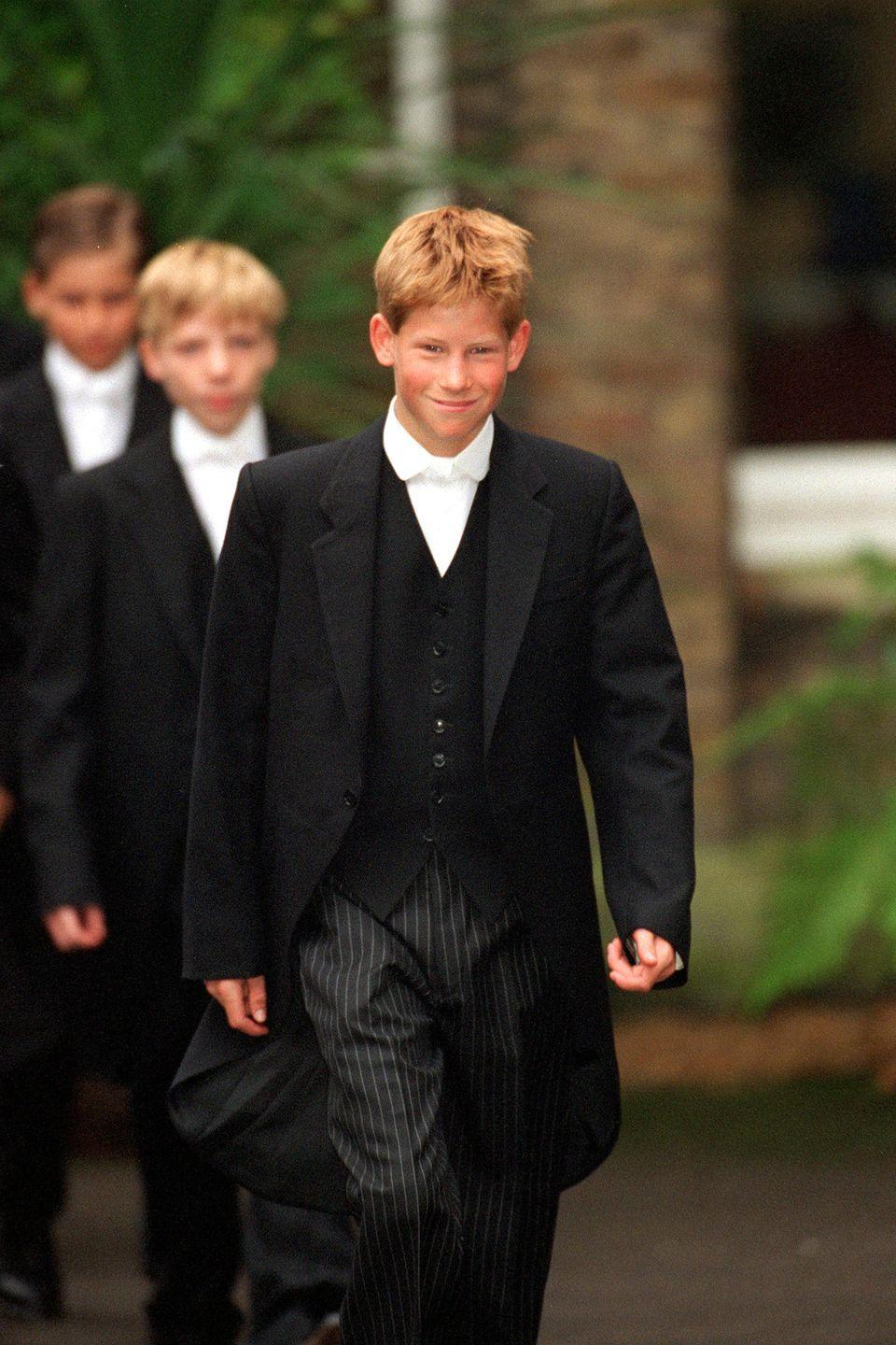 <p>Harry is all smiles as he leaves for his first day of classes at Eton College.</p>