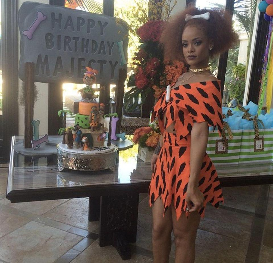 <p>Rihanna takes on Pebbles for a Flintstones' themed birthday party for baby Majesty, June 2015.</p>