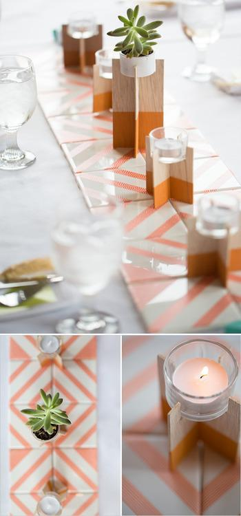 tiles repurposed in to votive stand centerpieces