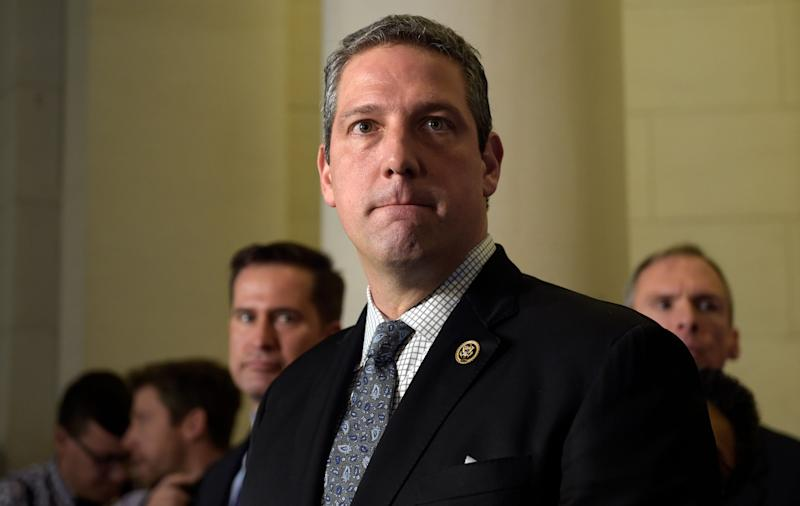 Rep. Tim Ryan, D-Ohio, listens to a reporter's question following the House Democratic Caucus elections on Capitol Hill in Washington, Wednesday, Nov. 30, 2016, for House leadership positions. Ryan challenged House Minority Leader Nancy Pelosi of Calif., but lost, 134-63. (AP Photo/Susan Walsh)
