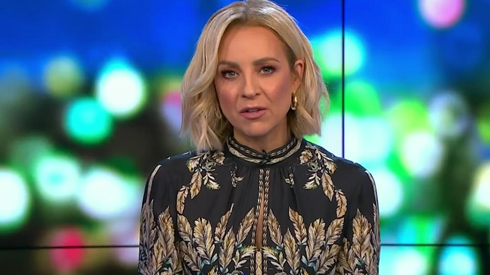 Carrie Bickmore wearing Reiss' Maria Feather Printed Mini Dress on The Project on May 17. Photo: Channel 10.