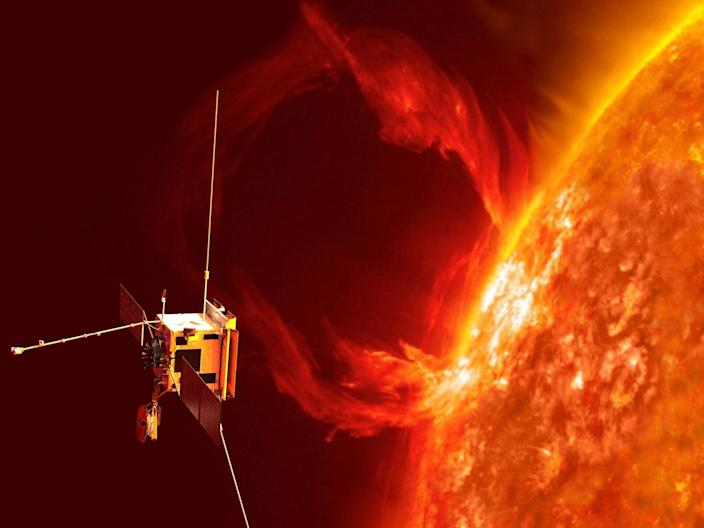 An artist's impression of Solar Orbiter observing a large eruption on the sun.