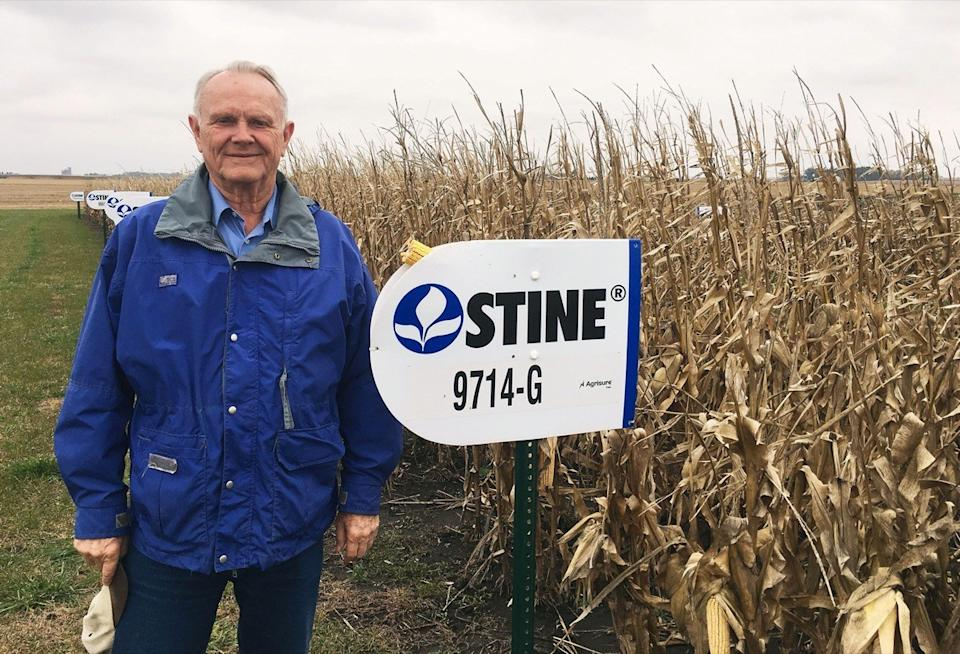 Harry Stine, chief executive for Stine Seed, poses next to corn planted near the company's offices in Adel, Iowa, U.S. October 26, 2016.