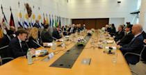 Ministers from more than a dozen European and Latin American states taking part in a meeting to tackle Venezuela's crisis, in Montevideo on February 7, 2019