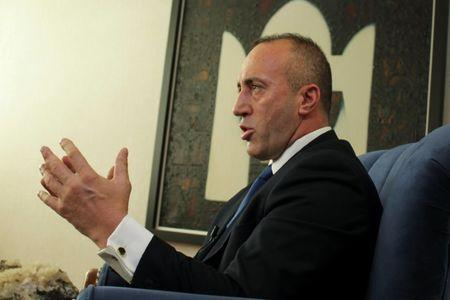 Kosovo's Prime Minister Haradinaj talks during an interview withe Reuters in Pristina
