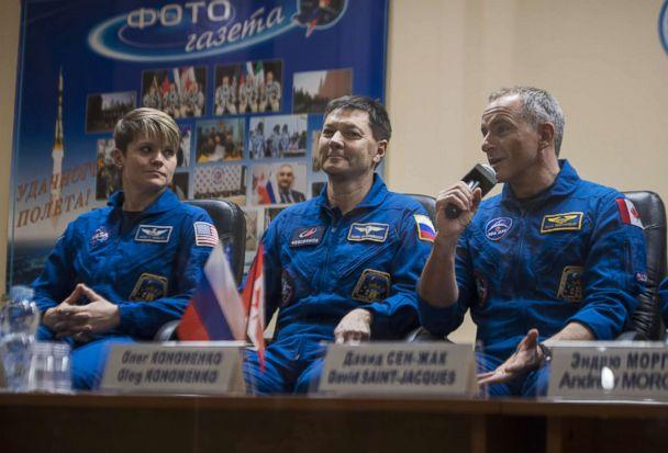 PHOTO: Expedition 58 Flight Engineer David Saint-Jacques answers a question during a press conference, Dec, 2, 2018, at the Cosmonaut Hotel in Baikonur, Kazakhstan. (Aubrey Gemignani/NASA via Getty Images)