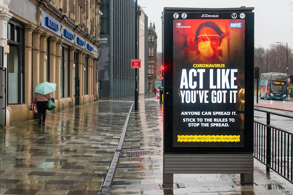General view of the Covid-19 'Stay Home Save Lives' publicity campaign poster in Newcastle upon Tyne in the north of england during the third national lockdown. (Photo by Nicolas Briquet / SOPA Images/Sipa USA)