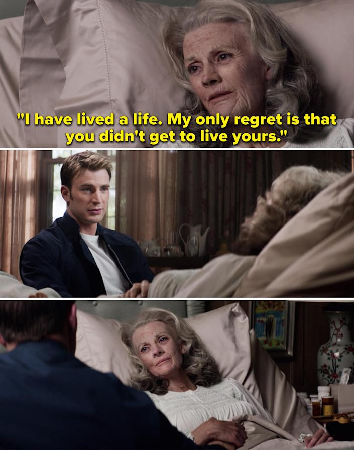 """An older Peggy telling Steve, """"I have lived a life. My only regret is that you didn't get to live yours"""""""