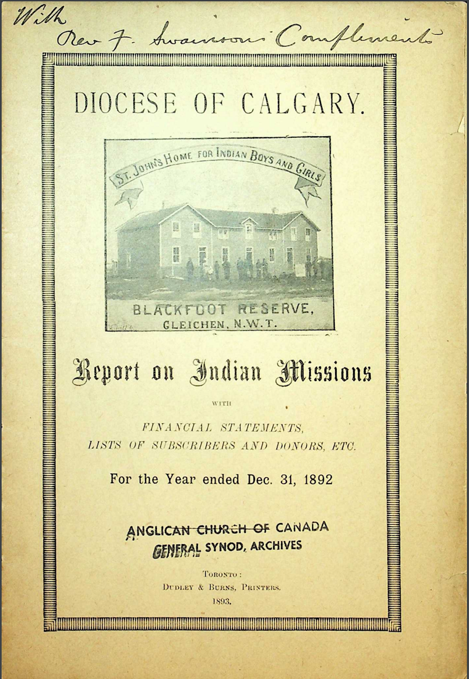 Cover of 1892 report showing a picture of a building with people in front of it that says 'St. John's Home for Indian Boys and Girls, Blackfoot Reserve'