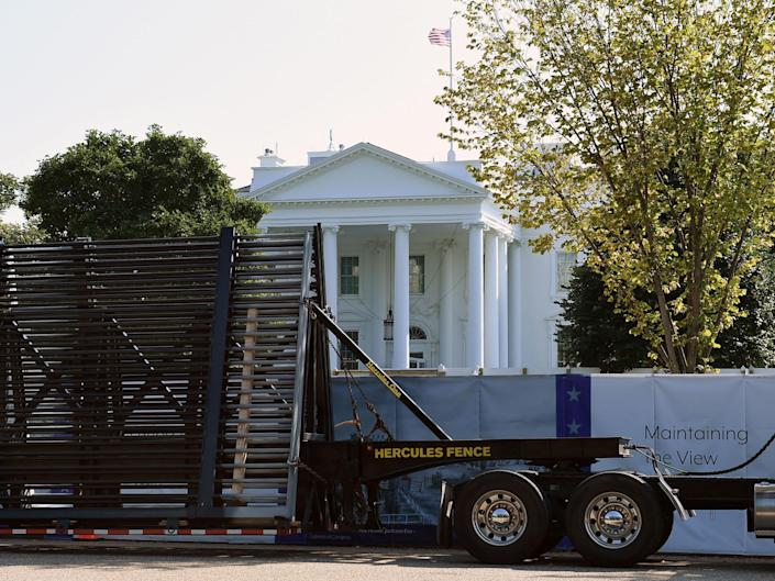 New White House fencing under construction in October 2019: AFP via Getty Images