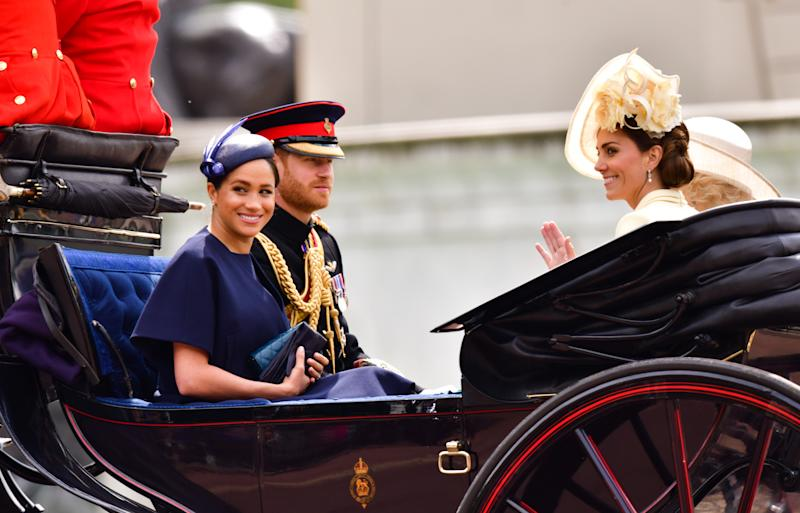 Harry, Meghan and Kateb shared a carriage with Camilla at this year's Trooping the Colour. Photo: Getty Images
