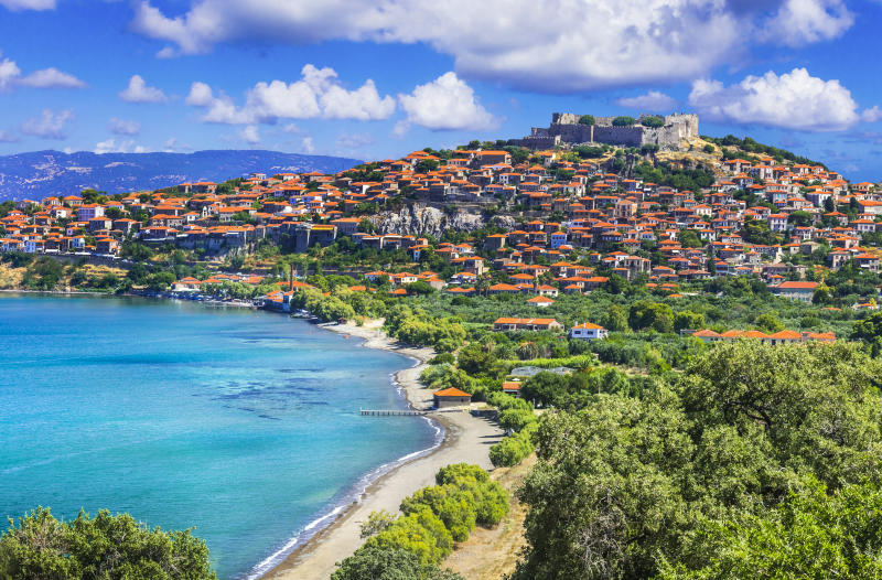 scenic landscape and historic towns of Lesbos island