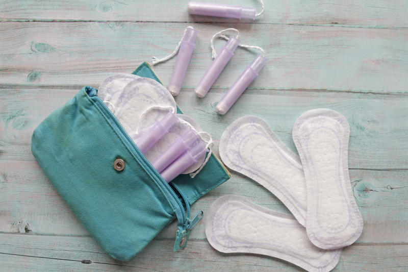 Menstrual bag with cotton tampons and sanitary pads
