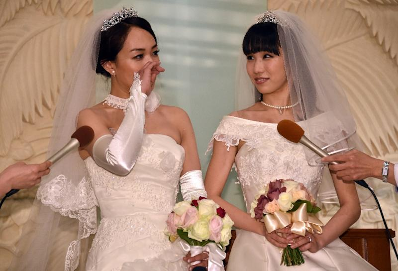 Japanese Actress Akane Sugimori R And Her Partner Ayaka Ichinose Both Dressed In