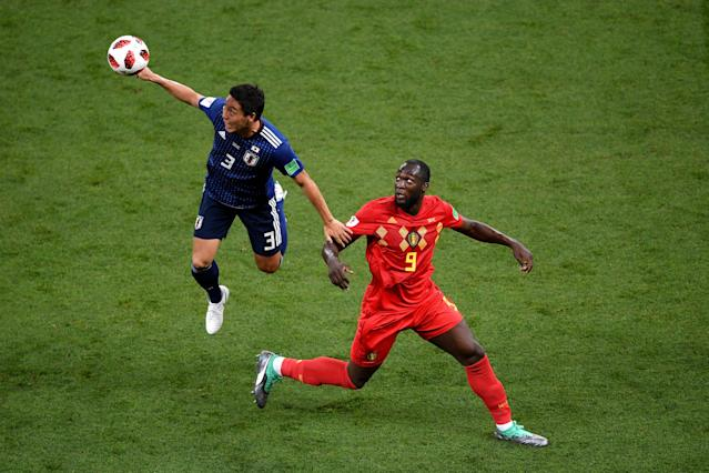 <p>Gen Shoji of Japan wih over Romelu Lukaku of Belgium during the 2018 FIFA World Cup Russia Round of 16 match between Belgium and Japan at Rostov Arena on July 2, 2018 in Rostov-on-Don, Russia. (Photo by Laurence Griffiths/Getty Images) </p>