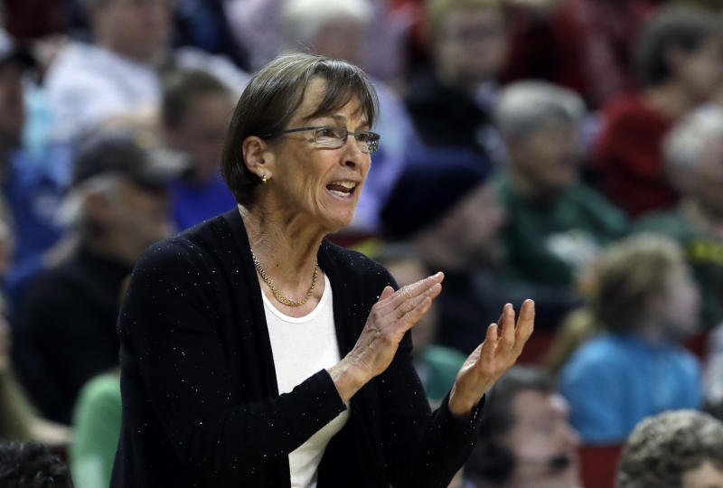 Stanford head coach Tara VanDerveer in action against Oregon during the first half of an NCAA college basketball game in the finals of the Pac-12 Conference women's tournament, Sunday, March 4, 2018, in Seattle. (AP Photo/Elaine Thompson)