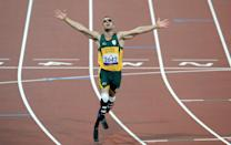 South Africa's Oscar Pistorius wins the Men's 400m T44 final at the Olympic Stadium, London.