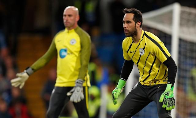 """<span class=""""element-image__caption"""">Claudio Bravo, right, and Willy Caballero can both expect games for Manchester City before the end of the season.</span> <span class=""""element-image__credit"""">Photograph: John Sibley/Reuters</span>"""