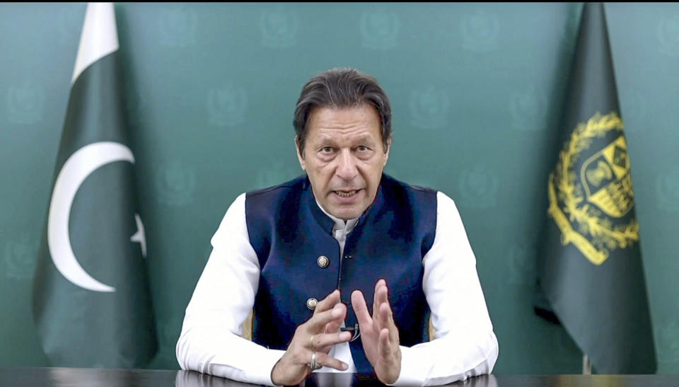 In this image taken from video provided by UN Web TV, Imran Khan, Prime Minister of Pakistan, remotely addresses the 76th session of the United Nations General Assembly in a pre-recorded message, Friday Sept. 24, 2021 at UN headquarters. (UN Web TV via AP)