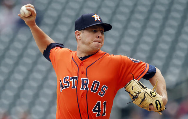 Houston Astros pitcher Brad Peacock throws against the Minnesota Twins in the first inning of a baseball game Thursday, May 2, 2019, in Minneapolis. (AP Photo/Jim Mone)