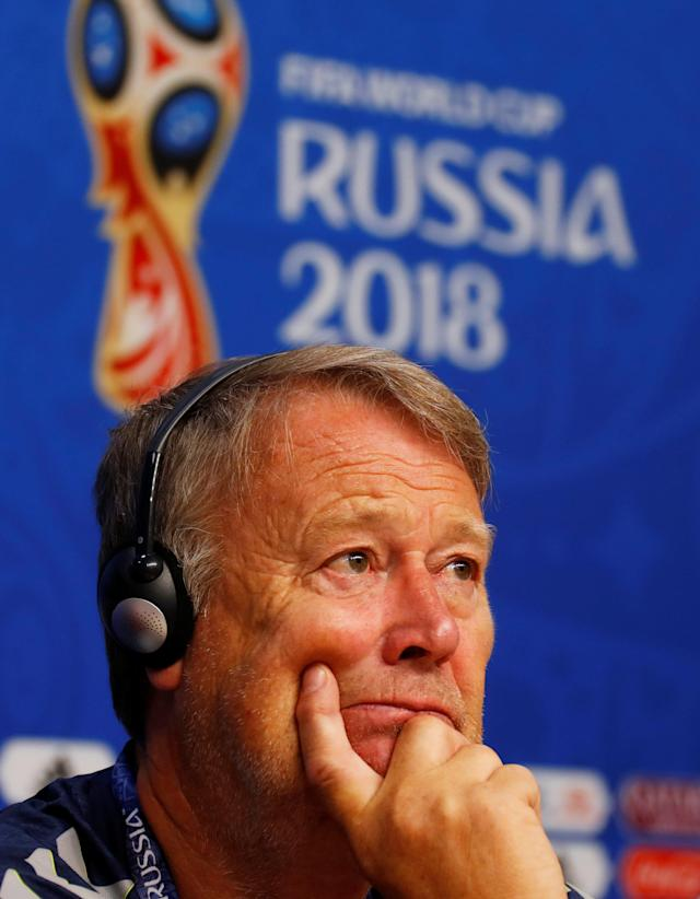 Soccer Football - World Cup - Denmark Press Conference - Samara Arena, Samara, Russia - June 20, 2018 Denmark coach Age Hareide during the press conference REUTERS/David Gray