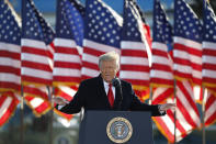 FILE - President Donald Trump speaks to crowd before boarding Air Force One at Andrews Air Force Base, Md., in this Wednesday, Jan. 20, 2021, file photo. Former President Donald Trump will find out this week whether he gets to return to Facebook. The social network's quasi-independent Oversight Board says it will announce its decision Wednesday, May 5 on a case concerning the former president. Trump's account was suspended for inciting violence that led to the deadly Jan. 6 Capitol riots. (AP Photo/Luis M. Alvarez, File)