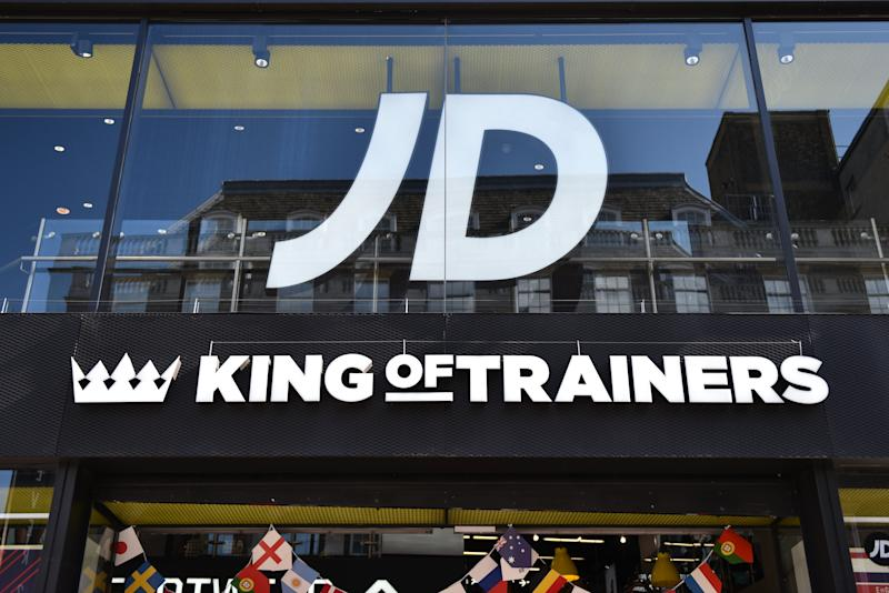 LONDON, ENGLAND - JUNE 11: JD Sports King of Trainers retail shop sign on Oxford Street on June 11, 2018 in London, England. (photo by John Keeble/Getty Images)