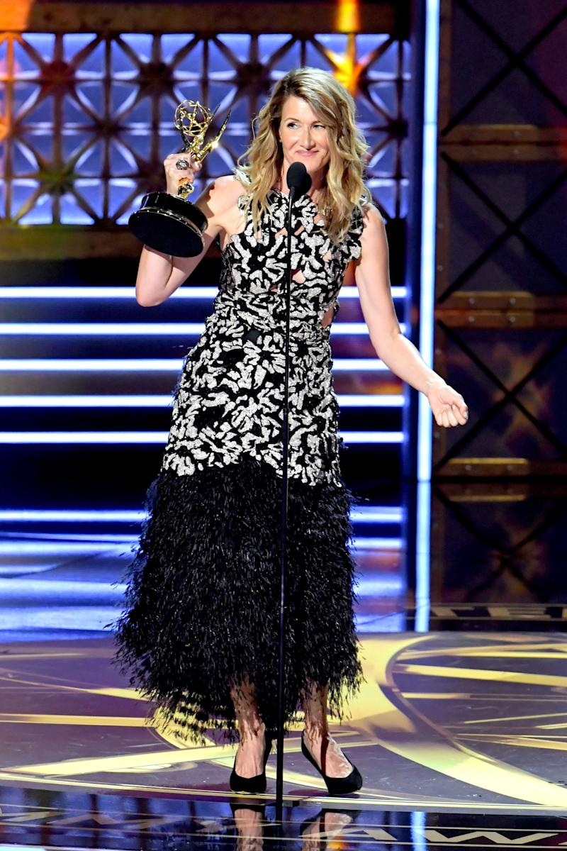 "Actor Laura Dern accepts the Outstanding Supporting Actress in a Limited Series or Movie award for ""Big Little Lies"" onstage during the 69th Annual Primetime Emmy Awards at Microsoft Theater on Sept. 17, 2017 in Los Angeles, California."