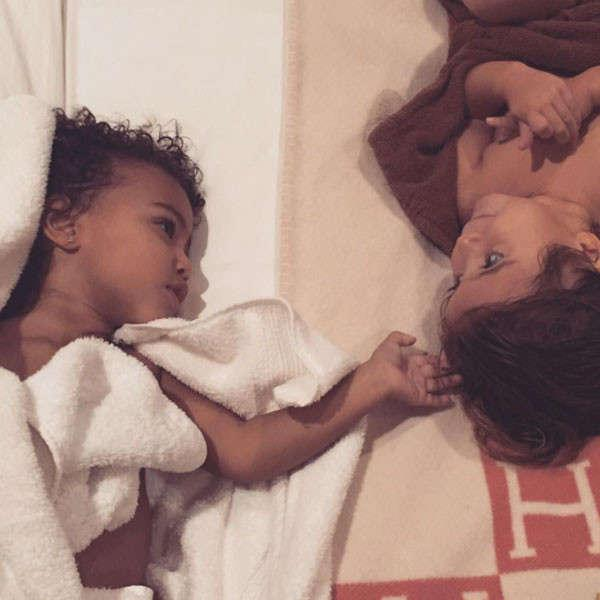 """""""Night night,""""<strong>Kim Kardashian</strong>wrote on Instagram, capturing this sweet post-bath moment. Of course these pint-sizedBFFs are bath mavens—what kid isn't? We bet they have way fancier bath products than the average kid, though. Remember Northie's insane glow stick bath? No? Next slide, please."""