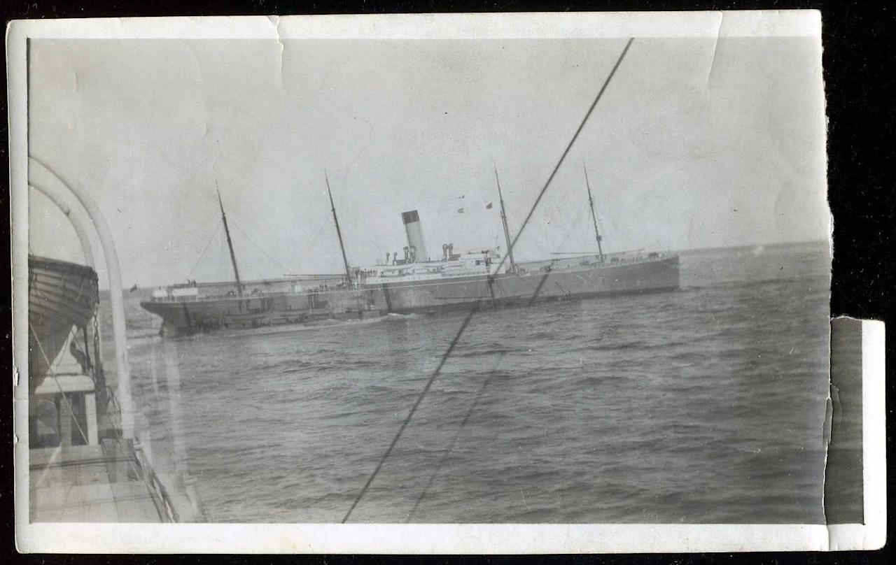 "<span style=""font-family:Arial;"">An original photo taken from the deck of the Carpathia shows another rescue ship, the</span><span style=""font-family:Arial;""> S. S. Californian, approaching. </span><br> <font face=""Arial""><br> </font>(Photo courtesy of <a target=""_blank"" href=""http://www.weissauctions.com/"">Phillip Weiss Auctions</a>)"